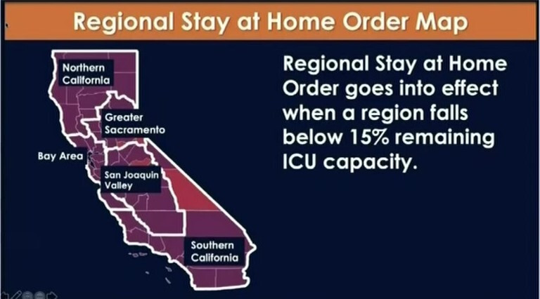 California Regional Stay at Home Order Map