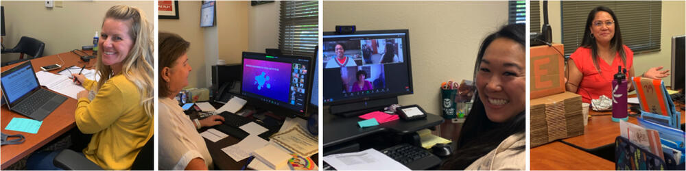 collage of educators doing virtual learning